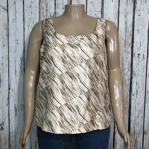 Cato Tank Top Shirt Shiny Beige Tan Animal Stripe